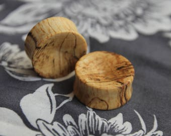 Double flared wood plug beech concave unique