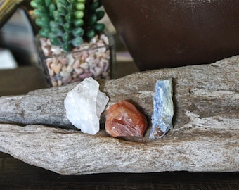 PEACE & JOY SET // Healing Stone Kit, Kyanite, Tangerine Quartz, Raw Quartz Crystal Stone Set of 3, Wiccan Altar Supplies, Crystal Healing