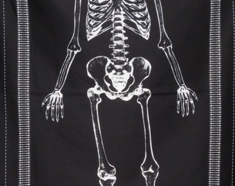 White on Black Glow in the Dark Skeleton Panel Print Pure Cotton Fabric--One Panel