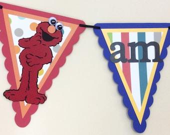 Sesame Street Highchair Banner - Sesame Street Banner - Elmo Highchair Banner - Elmo handmade banner