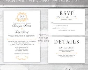 Peach/Gray Printable Wedding Invitation Set | Classic | Jennifer Collection | RSVP & Details/Enclosure Card | Custom Colors Available