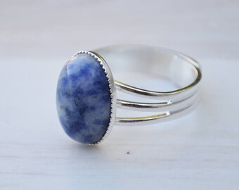 Sodalite ring, Blue sodalite ring, Sodalite cabochon ring, Silver sodalite ring, Ring sodalite, Silver ring sodalite.