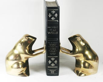 Brass Frog Bookends (or Toad bookends)