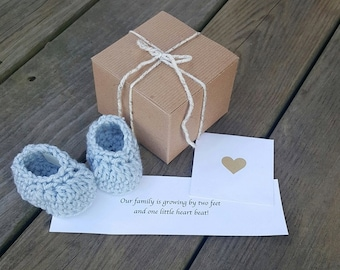 Gender Reveal, SHIPS WITHIN 1-2 DAYS,  Baby Booties, Pregnancy Announcement, It's A Boy!, Gender Reveal To Grandparents, Baby Announcement