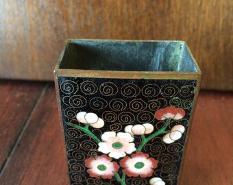 Vintage Cloisonne Matchbox Holder, Flowered Cloissone Box, Vintage Matchbox, Metal Matchbox, 1940's Matchbox, Fireplace Accessories