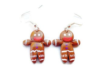 Brown gingerbread earrings fimo Gingy gingerbread man, snowman bread, spices, women gift, anniversary gift idea