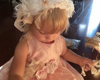 Silk eyelet baby girl blush dress-flower girl-special occasion