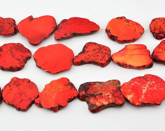 """16""""   Red  Turquoise  Slab   Nugget   Beads"""
