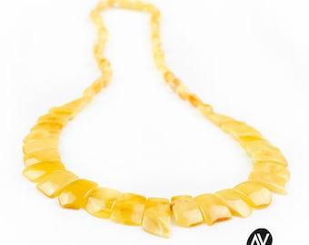 Free shipping amber collier   Yellow matt colour amber collier   Stunning amber collier for her   Luxury amber collier   AV0066