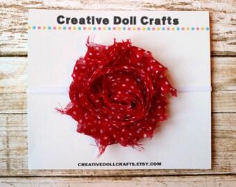 Doll Flower Headband, Red Doll Headband, Doll Easter Headband, Doll Polka Dot Headband, 18 Inch Doll, Doll Floral Headband