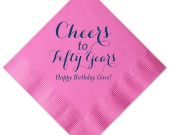 Birthday Napkins, Happy Birthday, 30, 40, 50 Wedding Napkins, Bar Napkins, Party Napkin, Cheers to 50 Years, Custom Napkin 142