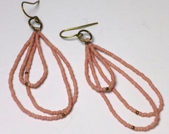 pink beaded brass earrings