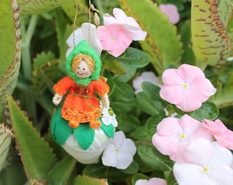 Little Girl Pixies Playing with Straberries, Felt art doll on plush fabric strawberry, hanging ornament, felt ornament