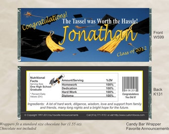 High School Graduation Party Ideas, Chocolate Bar Wrappers, Party Favors, Graduation Favors, College Graduation (Set of 12)(W599)