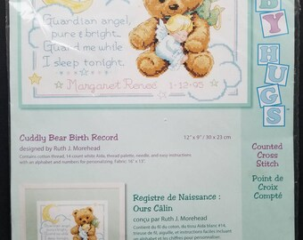 Dimensions Cuddly Bear Baby Birth Record Counted Cross Stitch Kit 13591