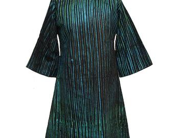 Batik-Tunika, afrikanische Mode, blau und grün Tunika, Tunika, afrikanische Tunika, Adire Kleid, lose passen gestreiften Kleid, Tunika, Tunika-Kleid