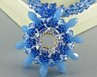 Blue  Cobalt Statement Necklace Beadwoven Jewelry   Beaded Beadwork Inspired by Chiluly