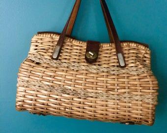 Handmade Vintage Basket Weave Purse, Handbag, Hong Kong, Spring, Summer, Coated Wicker Basket Women