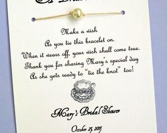 English Tea Party - A Bride's Wish - Wish Bracelet Bridal Shower Favor Custom Made for You