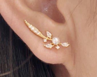 Enchanted ear climbers | ear crawlers | ear climber earrings | ear crawler earrings | ear pins | bridesmaid gift