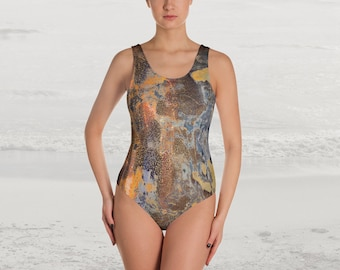 Abstract Mottled Tarnished Pattern Graphic Print One Piece Swimsuit, Blue Brown Yellow Modern Industrial Theme Abstract Women's Bathing Suit