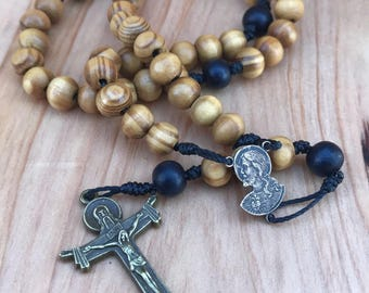 Sacred Heart of Jesus Rosary with Holy Trinity Crucifix comes with Rosary Pouch