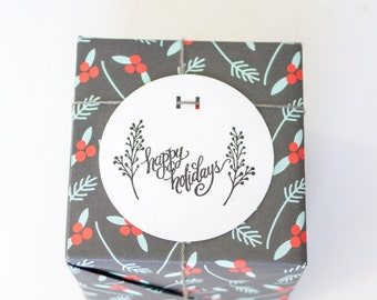 CLEARANCE Happy Holidays with sprigs calligraphy rubber stamp