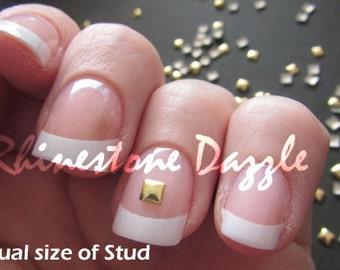 3mm gold square nail studs, nail art, nail design, 3D nail art, metallic studs, diy nails, Nail Decoration