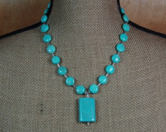 Natural American Turquoise Stone Coins and Pendant .925 Sterling Silver Necklace