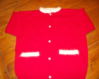 Girls red cotton angora peppermint candy button with pockets sweater size 6/7 christmas holiday