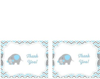Instant Digital Download Elephant Baby Shower Thank You Card Chevron Grey and Blue Mommy and Baby