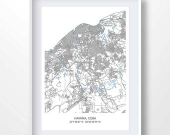 HAVANA MAP, map of havana, town map, havana print, havana minimalist poster, cuba city art, cuba wall art, cuba gifts, cuba wall art