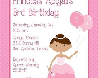 Princess Birthday Invitations, Blonde or Brown Hair