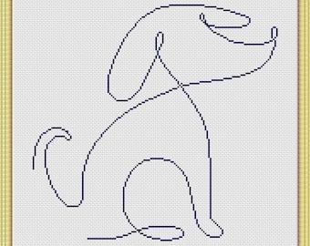 Abstract Dog Cross Stitch Pattern, Free shipping, Cross Stitch PDF, Cross stitch pattern, Animal Cross Stitch, Single line Dog Pattern #113