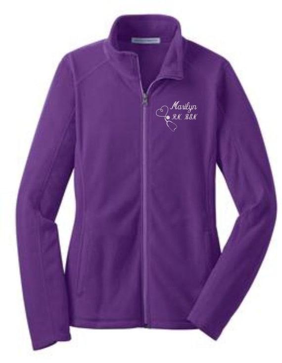 Jacket, Stethoscope, Fleece Jacket, RN, BSN, LPN, Nurse Jackets, Embroidered,  Stethoscope Jacket, Womens Gift, Personalized
