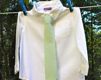 Boy's Tie - Green Seersucker  - any size boys necktie Boys Neckties boys ties green and white seersucker tie Green Seersucker Tie striped