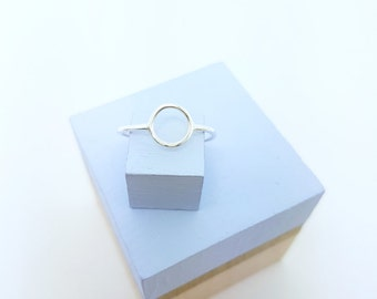 Small Silver Circle Ring | Geometric Ring | Stacking Ring *MADE TO ORDER*