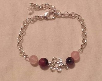 Silver Bracelet with Purple/Pink Malaysian Glass Beads and Silver Charm