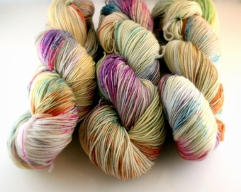 Hand Dyed Yarn merino Cup Cakes colorway, Peyton sock yarn, 463 yards, pale yellow, pink