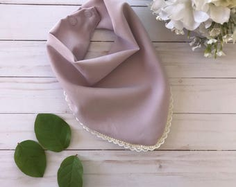Soft lilac with ivory pearl and lace trim with two snaps. Scarf for toddlers. Scarf for kids. Fashion scarf. Baby shower gift. Kids birthday