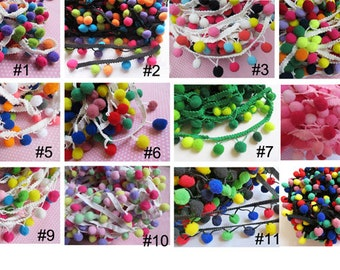 "2y 1/2"" Pom Pom Trim-multicolor(U-PICK)"