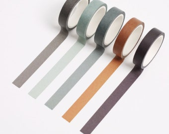 Set of 5 Washi Tape, Forest Series Washi Tape, Scrap booking, Schedule Washi, Bullet Journal, Planner, Grey, Brown, Blue, Neutral Hues