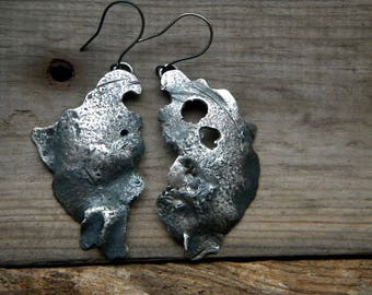Birds   Organic Form Earrings Sterling Silver, Fine Silver, oxidized silver earrings