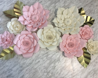 Large Paper Flowers - Set of 9