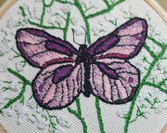 Hand embroidered Butterfly and Baby's Breath