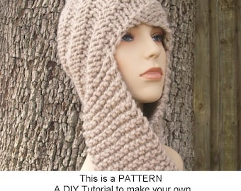Knitting pattern hat easy balaclava or hat and cowl flat knit instant download knitting pattern pdf knitting pattern pdf for swirl beanie scarf hat hooded scarf womens accessories dt1010fo