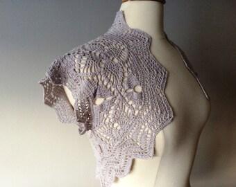 Silver gray crochet bolero shrug - made to order