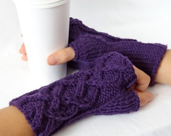 DISCONTINUED Purple Merino Wool Celtic Cable Fingerless Gloves
