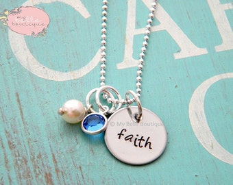 Personalized Hand Stamped Name Necklace with Swarovski Birthstone and Pearl Charms