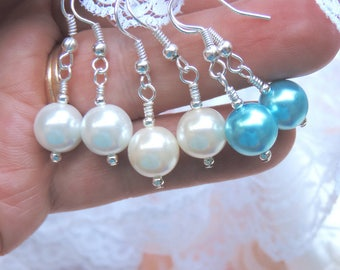 Simple white pearl earrings for your special day, or everyday. White shell pearls with silver plated hooks. Gift for a bride & bridesmaids.